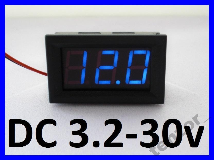 Цифровой вольтметр DC 3.2 - 30 вольт, синий.