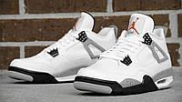 Мужские баскетбольные кроссовки Nike Air Jordan IV Retro White Leather   (найк аир джордан, оригинал) белые