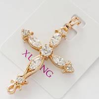 Кулон подвеска xuping золото 18к крестик с цирконием