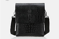 Отличная мужская сумка ГОЛОВА КРОКОДИЛА