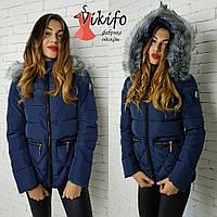 Куртка женская теплая короткая с мехом на капюшоне 2 цвета Gf24