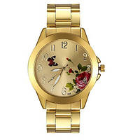 Качественные женские наручные часы с цветком. Стильный дизайн. Классический стиль. Купить часы. Код: КДН745