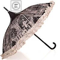 Превосходный зонт-трость для леди, механический с UVфильтром GUY de JEAN (Ги де ЖАН) FRHSPC-2 черный/бежевый