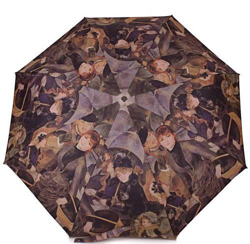 """Женский облегченный зонт, полуавтомат GUY de JEAN (Ги де ЖАН) """"PEINTRES CELEBRES"""" FRH6410-20 коричневый"""