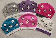 Детская демисезонная шапка для девочки 5-10 лет