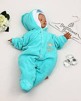"""Детский велюровый комбинезон с шапочкой """"Baby Brilliant"""" для новорожденных (бирюза)"""