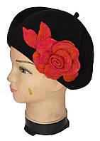 Берет женский цветок роза