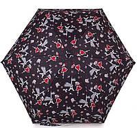 """Контрастный женский зонт, механический GUY de JEAN (Ги де ЖАН) """"DARLING"""" FRH9012 иссиня-черный/принт"""