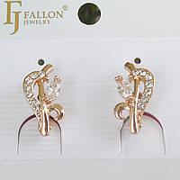Серьги FJ FALLON позолота 18К английский замок 10 цветочный мотив