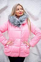 Зимняя женская куртка-пуховик с капюшоном и широкими карманами