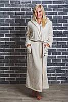 Махровый халат женский длинный молочный, фото 1