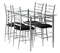 Комлект кухонный ( стол стеклянный + 4 стула) 120см