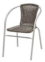 Садовый стул коричневый со спинкой стальной и искусственного ротанга