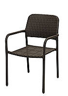 Садовый стул со спинкой металлический  и искусственного ротанга 59х59 см