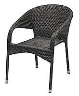 Садовое кресло серое стальное и искусственный ротанг