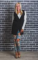 Стильный женский жилет кашемировый черный, фото 1