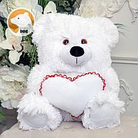 Плюшевый медвежонок с сердцем, 70 см, белый