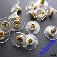 Золотистый Стопор для серег,Силикон+металл,2 шт.