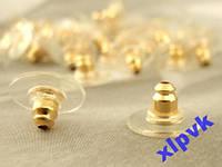 Золотистый Прижим для серег,Силикон+металл,2 шт.