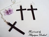 Набор Крестик хрест крестик с цепочкой и сережки