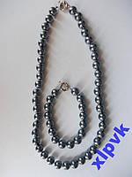 Ожерелье+Браслет Черный Жемчуг-10мм,АВСТРАЛИЯ