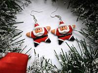Серьги сережки новогодние дед мороз санта клаус