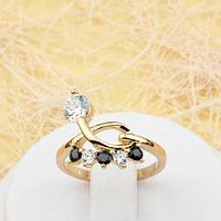 002-1775 - Изящное позолоченное кольцо с чёрными и прозрачными фианитами, 16.5 р.