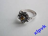 Кольцо Зеленый Янтарь-Цветок-925 проба-Польша №2