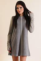 Модное теплое платье из замши Серый