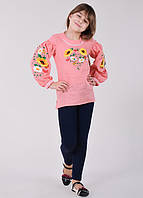 Розовая блуза-туника с подсолнухами и ромашками