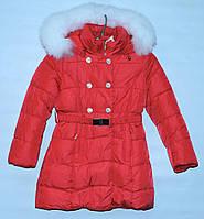 Зимнее пальто для девочки 6-10 лет Lebo красное
