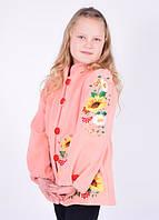 Розовое пальто с вышивкой