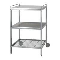 """IKEA """"УДДЕН"""" Столик с колесами, серебристый, нержавеющ сталь,"""