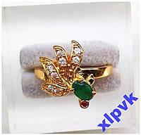 Кольцо Изумруд 6х3мм,Рубин-17.8р-375 пр-ИНДИЯ