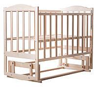 Детская кроватка из ясеня без лака (с маятником без ящика) боковина  ОПУСКАЕТСЯ