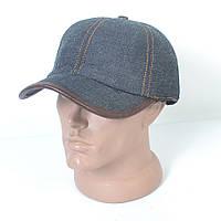 Стильная теплая джинсовая кепка на флисе с ушками - 29-450