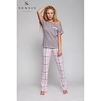 Пижама женская футболка с брюками. Мокко+розовый клетка KISS ME Sensis