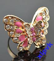 Кольцо Бабочка Махаон Розовая,18кGP,ИТАЛИЯ.НОВИНКА