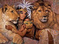 Алмазная вышивка Прекрасная девушка и львы KLN 40*30 см (арт. FS 006)