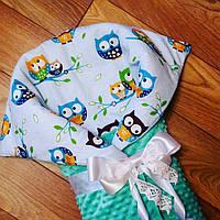 Конверт для новорожденного совушки теплый осень - зима