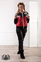 Спортивный костюм из плащевки на флисе с вышивкой