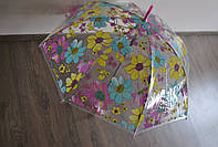 Зонт трость, полуавтомат, прозрачный, цветы