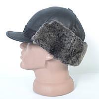 Кожаная мужская кепка с ушками на меху - 29-458