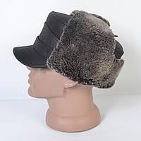 Кожаная мужская кепка-немка с ушками на меху - 29-458