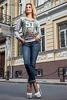 Яркий модный женский свитшот (трикотаж двухнитка, стильный цветочный принт) РАЗНЫЕ ЦВЕТА!