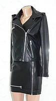Женская кожаная куртка косуха черная