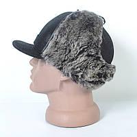 Кожаная мужская кепка с ушками на меху - 29-460