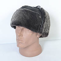 Кожаная мужская кепка с ушками на меху - 29-461