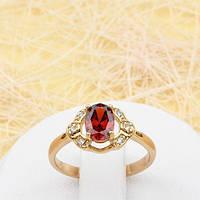 002-1783 - Чудесное позолоченное кольцо с красным и прозрачными фианитами, 16.5 р.