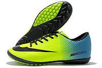 Сороконожки мужские Nike Mercurial Walked салатово-голубые (найк меркуриал)